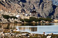 Refugio Frey sits on the shore of Laguna Toncek in Parque Nacioal Nahuel Huapi near Bariloche, Argentina.