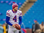 19 October 2014: Buffalo Bills kicker Jordan Gay warms up prior to facing the Minnesota Vikings at Ralph Wilson Stadium in Orchard Park, NY. The Bills defeated the Vikings 17-16 in a dramatic, last minute, comeback touchdown drive. Mandatory Credit: Ed Wolfstein Photo *** RAW (NEF) Image File Available ***