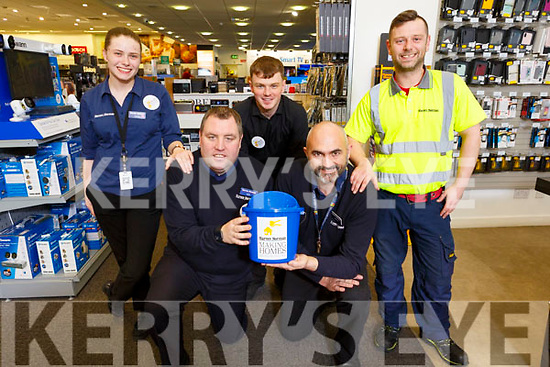 The staff of Harvey Norman holding a charity fundraiser for the Peter McVerry Trust in the store in Manor West on Monday.<br /> Kneeling: Ken Robinson and Martin O'Brien<br /> Standing l ro r: Ciara Murphy, Ronan O'Keefe and Trevor Quirke