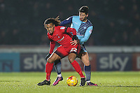 Sandro Semedo of Leyton Orient (22) holds off Joe Jacobson of Wycombe Wanderers during the Sky Bet League 2 match between Wycombe Wanderers and Leyton Orient at Adams Park, High Wycombe, England on 17 December 2016. Photo by David Horn / PRiME Media Images.
