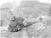 D&amp;RGW #481 with limestone train coming off the Garfield switchback and headed eastbound for Salida.<br /> D&amp;RGW  Garfield, CO  Taken by Richardson, Robert W. - 6/15/1955