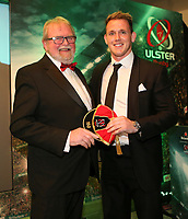 Thursday 10th May 2018 | Ulster Rugby Awards 2018<br /> <br /> Ulster Branch President, Graffin Parke, presents Craig Gilroy with his 150 Cap during the 2018 Heineken Ulster Rugby Awards at La Mom Hotel, Belfast. Photo by John Dickson / DICKSONDIGITAL