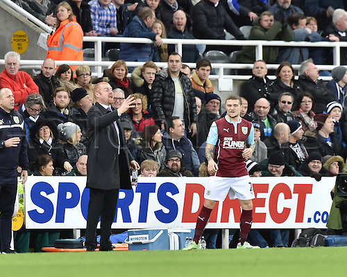 01.01.2015.  Newcastle, England. Barclays Premier League. Newcastle versus Burnley. Burnley manager Sean Dyche gives instructions from the touchline