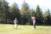 Ross Fisher (ENG) plays his 2nd shot on the 15th hole during Saturday's Round 3 of the 2018 Omega European Masters, held at the Golf Club Crans-Sur-Sierre, Crans Montana, Switzerland. 8th September 2018.<br /> Picture: Eoin Clarke | Golffile<br /> <br /> <br /> All photos usage must carry mandatory copyright credit (&copy; Golffile | Eoin Clarke)