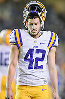 LSU place kicker Colby Delahoussaye (42) before an NCAA football game, Thursday, November 27, 2014 in College Station, Tex. LSU defeated Texas A&M 23-17. (Mo Khursheed/TFV Media via AP Images)
