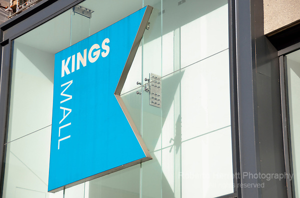 Kings Mall shopping centre sign, Hammersmith, London, UK.