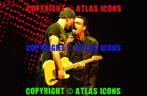 U2, Bono, And ,The Edge, Performs At Madison Square Garden, In New York City, On November 21, 2005 . .Photo Credit: Eddie Malluk/Atlas Icons.com