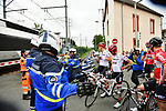 The peloton stopped for a train during Stage 12 of the 104th edition of the Tour de France 2017, running 214.5km from Pau to Peyragudes, France. 13th July 2017.<br /> Picture: ASO/Alex Broadway | Cyclefile<br /> <br /> <br /> All photos usage must carry mandatory copyright credit (&copy; Cyclefile | ASO/Alex Broadway)