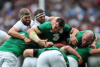 Geoff Parling and Tom Wood of England and Peter O'Mahony and Paul O'Connell of Ireland compete at a maul. QBE International match between England and Ireland on September 5, 2015 at Twickenham Stadium in London, England. Photo by: Patrick Khachfe / Onside Images