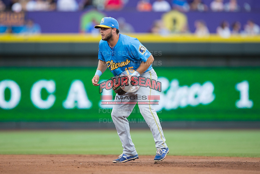 Myrtle Beach Pelicans second baseman David Bote (15) on defense against the Winston-Salem Dash at BB&T Ballpark on July 7, 2016 in Winston-Salem, North Carolina.  The Dash defeated the Pelicans 13-9.  (Brian Westerholt/Four Seam Images)