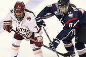 Kristyn Capizzano (BC - 7), Rebecca Lindblad (UConn - 8) - The Boston College Eagles defeated the visiting UConn Huskies 4-0 on Friday, October 30, 2015, at Kelley Rink in Conte Forum in Chestnut Hill, Massachusetts.