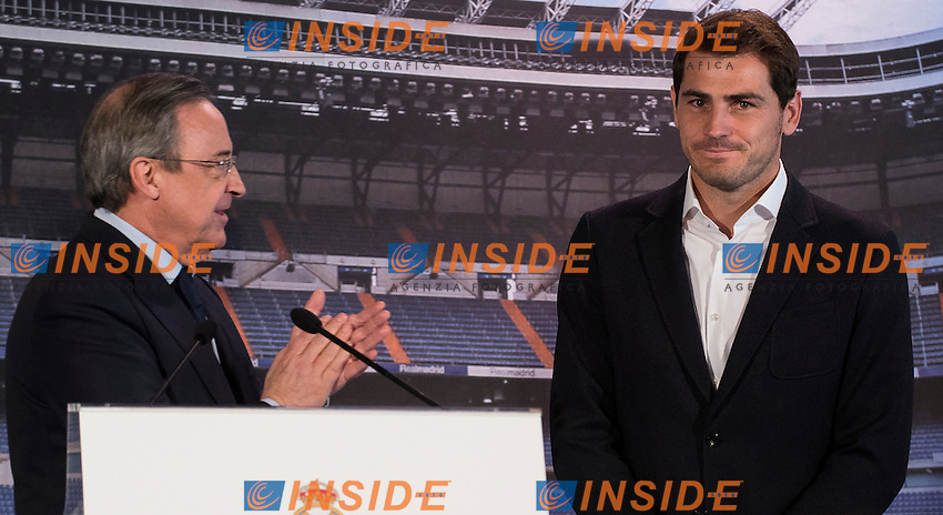 President of Real Madrid, Florentino Perez and Iker Casillas, during the press conference of the Iker Casillas tribute at Santiago Bernabeu Stadium in Madrid. July 13. 2015.<br />  (ALTERPHOTOS/BorjaB.Hojas/Insidefoto)