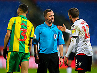 Bolton Wanderers' Craig Noone has a word with referee David Webb<br /> <br /> Photographer Alex Dodd/CameraSport<br /> <br /> The EFL Sky Bet Championship - Bolton Wanderers v West Bromwich Albion - Monday 21st January 2019 - University of Bolton Stadium - Bolton<br /> <br /> World Copyright © 2019 CameraSport. All rights reserved. 43 Linden Ave. Countesthorpe. Leicester. England. LE8 5PG - Tel: +44 (0) 116 277 4147 - admin@camerasport.com - www.camerasport.com