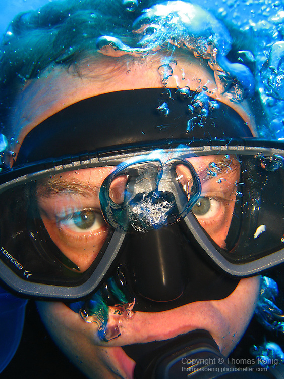 Qixingyan ('Seven Star Rock'), Taiwan -- Self-portrait of the photographer during the dive.