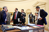 Washington, DC - June 2, 2009 -- United States President Barack Obama has a briefing in the Oval Office prior to health care meeting with Senate democrats, June 2, 2009. With the President are (from left; White House Chief of Staff Rahm Emanuel, Senior Advisor David Axelrod, Director of the Office of Management and Budget Peter Orszag, Director of the White House Office for Health Reform Nancy-Ann DeParle, and members of the staff. .Mandatory Credit: Pete Souza - White House via CNP