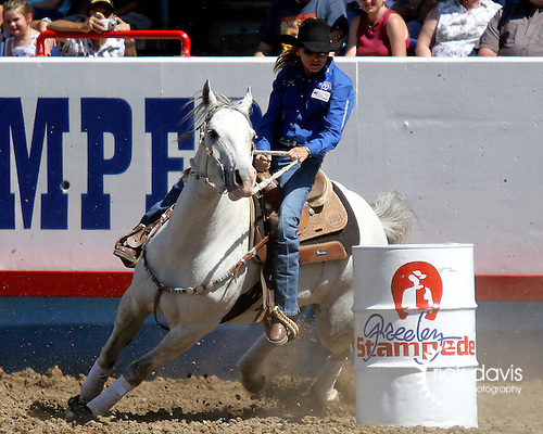 WPRA member Jill Moody turned in a time of 17.55 seconds in final round action of the Womens Barrel Racing event to win the Greeley Independence Stampede Rodeo on July 4, 2008 in Greeley, Colorado.
