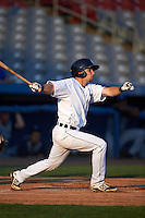 Connecticut Tigers second baseman Patrick Mackenzie (54) at bat during the first game of a doubleheader against the Brooklyn Cyclones on September 2, 2015 at Senator Thomas J. Dodd Memorial Stadium in Norwich, Connecticut.  Brooklyn defeated Connecticut 7-1.  (Mike Janes/Four Seam Images)