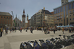 The town square of  Marienplatz, Munich,Bavaria, Germany.