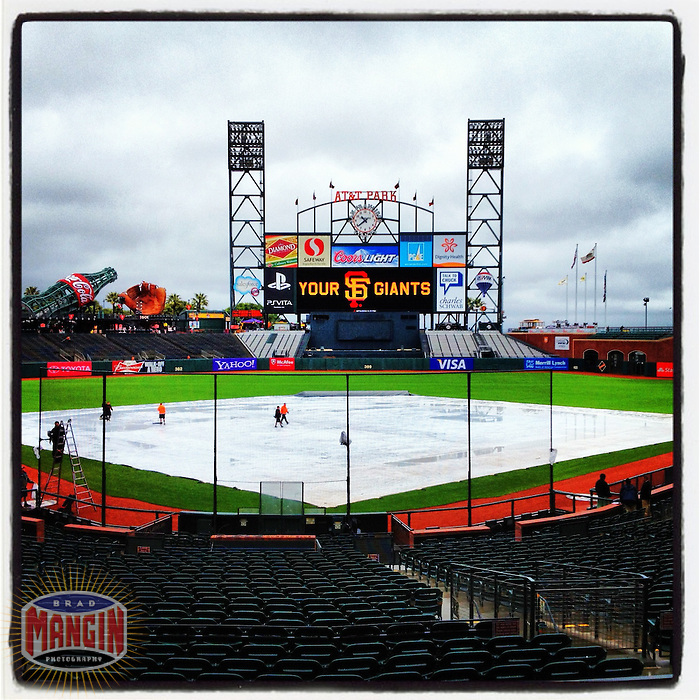 SAN FRANCISCO, CA - JUNE 4: Instagram of the tarp on the field during a rainy morning before the game between the Chicago Cubs and San Francisco Giants at AT&T Park on June 4, 2012 in San Francisco, California. (Photo by Brad Mangin)