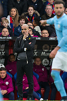 Manchester City Manager Josep Guardiola during the Premier League match between Crystal Palace and Manchester City at Selhurst Park, London, England on 31 December 2017. Photo by Andy Rowland.