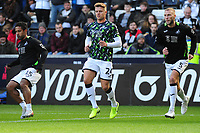 (L-R) Wayne Routledge, Jake Bidwell and Mike van der Hoorn of Swansea City during the pre-match warm-up for the Sky Bet Championship match between Swansea City and Cardiff City at the Liberty Stadium in Swansea, Wales, UK. Sunday 27 October 2019