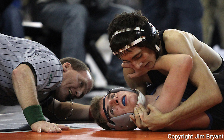 Union's Ethan Rotondo earns near fall points against Curtis' Evan Janson during their 106-pound match on Friday, Feb, 19, 2016 at the Mat Classic XXVIII held in the Tacoma Dome. Rotondo went onto win his match with a technical Fall (16-0). (Jim Bryant Photo)