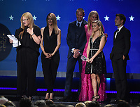SANTA MONICA, CA - JANUARY 11: (L-R) Producer Gregg Fienberg, actor Laura Dern, producer Bruna Papandrea, actors Alexander Skarsgard, Nicole Kidman and Reese Witherspoon, and producer Per Saari accept Best Limited Series for 'Big Little Lies' at the 23rd Annual Critics' Choice Movie Awards at Barker Hangar on January 11, 2018 in Santa Monica, California. (Photo by Frank Micelotta/PictureGroup)