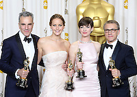02/24/13 Hollywood, CA: Daniel Day-Lewis, Jennifer Lawrence, Anne Hathaway and Christoph Waltz pose in the press room during the 85th Annual Academy Awards