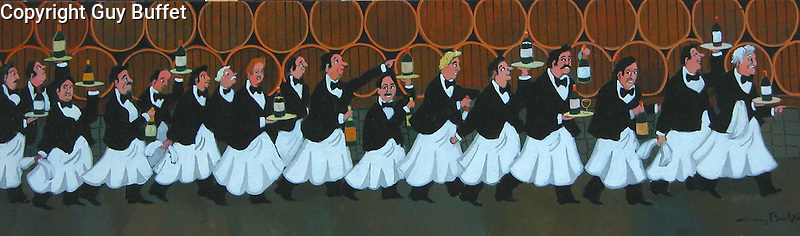 &quot;Parade of the Great Vintages&quot;<br /> Limited Edition Giclee 10x40<br /> SN Canvas $950.<br /> AP w/Original Watercolor Remarque - Paper $1,550.<br /> Classic Sommeliers!