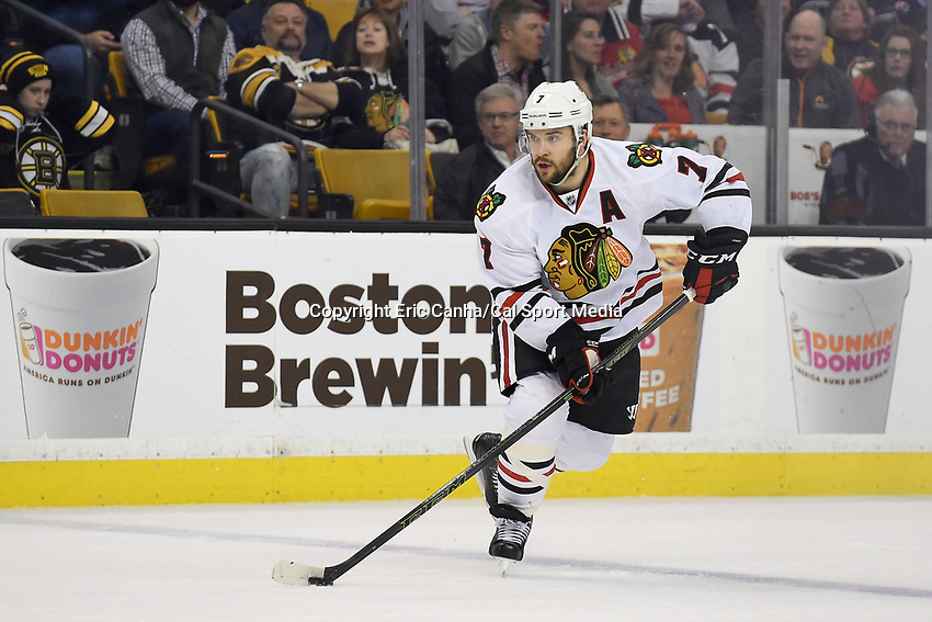 Thursday, March 3, 2016: Chicago Blackhawks defenseman Brent Seabrook (7) plays the puck across the blue line during the National Hockey League game between the Chicago Blackhawks and the Boston Bruins, held at TD Garden, in Boston, Massachusetts. Boston defeated Chicago 4-2. Eric Canha/CSM