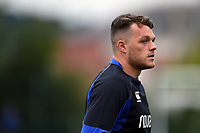 Zach Mercer of Bath Rugby looks on during the pre-match warm-up. Pre-season friendly match, between Edinburgh Rugby and Bath Rugby on August 17, 2018 at Meggetland Sports Complex in Edinburgh, Scotland. Photo by: Patrick Khachfe / Onside Images