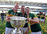 Johnny Buckley, Fionn Fitzgerald and celebrate after winning the All-Ireland Football Final against Donegal in Croke Park 2014.<br /> Photo: Don MacMonagle<br /> <br /> <br /> Photo: Don MacMonagle <br /> e: info@macmonagle.com