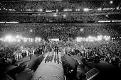 Denver, Colorado.August 28, 2008..Illinois Senator Barack Obama accepts his nomination for US President in front of 75,000 people at the Democratic National Convention closing night in Denver's Mile High Stadium.