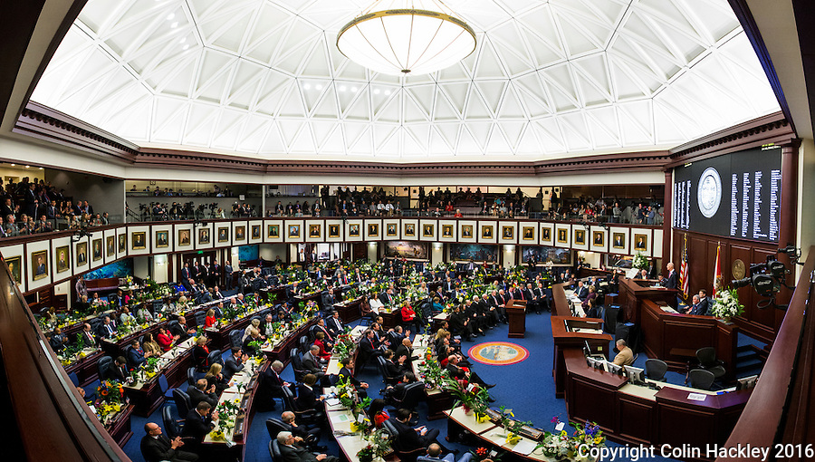 TALLAHASSEE, FLA. 1/12/16-Gov. Rick Scott delivers the state of the state address Tuesday at the Capitol in Tallahassee.<br /> <br /> EDITOR'S NOTE: This image is comprised of multiple photos taken at the same moment and stitched together in photoshop to create a panorama.<br /> <br /> COLIN HACKLEY PHOTO