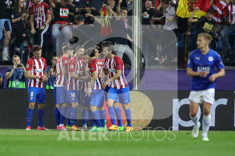 Atletico de Madrid's players celebrate goal during Champions League 2016/2017 Quarter-finals 1st leg match. April 12,2017. (ALTERPHOTOS/Acero)