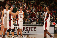 14 January 2006: Brooke Smith, Candice Wiggins, Krista Rappahahn and Jillian Harmon during Stanford's 87-75 win over the California Golden Bears at Maples Pavilion in Stanford, CA.