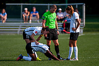 Kansas City, MO - Sunday September 3, 2017: Kayla Mills, Maya Hayes, Luis Guardia, Sarah Killion during a regular season National Women's Soccer League (NWSL) match between FC Kansas City and Sky Blue FC at Children's Mercy Victory Field.