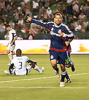 CARSON, CA – APRIL 30, 2011: Chivas USA forward Alejandro Moreno (15) celebrates his goal during the match between Chivas USA and New England Revolution at the Home Depot Center, April 30, 2011 in Carson, California. Final score Chivas USA 3, New England Revolution 0.