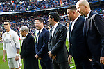 Real Madrid's golden ball players Cristiano Ronaldo, Kopa, Michael Owen, Luis Figo, Ronaldo Nazario and Zinedine Zidane during La Liga match. January 7,2016. (ALTERPHOTOS/Acero)