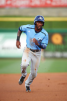 Charlotte Stone Crabs left fielder Bralin Jackson (24) running the bases during a game against the Clearwater Threshers on April 12, 2016 at Bright House Field in Clearwater, Florida.  Charlotte defeated Clearwater 2-1.  (Mike Janes/Four Seam Images)