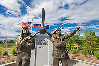 Alaska-Siberia Lend-Lease Memorial, Griffin Park, Fairbanks, Alaska. Sculpture honors American and Russian aviators and troops responsible for ferrying more than 8,000 American-built warplanes from the Midwest through Canada to Fairbanks during World War II. Alaska was the exchange point between the United States and Soviet Union from 1942 to 1945.