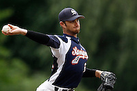 17 July 2011: Clayton Cooper of the Savigny Lions pitches against Rouen during the 2011Challenge de France final match won 6-4 by the Rouen Huskies over the Savigny Lions, at Stade Pierre Rolland, in Rouen, France.