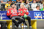 GER - Mannheim, Germany, September 23: During the DKB Handball Bundesliga match between Rhein-Neckar Loewen (yellow) and TVB 1898 Stuttgart (white) on September 23, 2015 at SAP Arena in Mannheim, Germany.  Darko Stanic #12 of Rhein-Neckar Loewen, Mikael Alf Appelgren #1 of Rhein-Neckar Loewen<br /> <br /> Foto &copy; PIX-Sportfotos *** Foto ist honorarpflichtig! *** Auf Anfrage in hoeherer Qualitaet/Aufloesung. Belegexemplar erbeten. Veroeffentlichung ausschliesslich fuer journalistisch-publizistische Zwecke. For editorial use only.