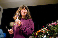 Janet Kalish toasts to a freegan community meal on April 7, 2006.