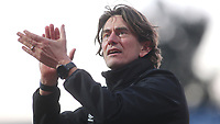 Brentford Head Coach, Thomas Frank, applauds the home fans at the final whistle during Brentford vs Middlesbrough, Sky Bet EFL Championship Football at Griffin Park on 8th February 2020