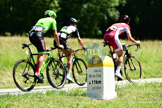 The breakaway group start the final climb Mont du Chat during Stage 6 of the Criterium du Dauphine 2017, running 147.5km from Parc des Oiseaux - Villars-les-Dombes to La Motte-Servolex, France. 9th June 2017. <br /> Picture: ASO/A.Broadway | Cyclefile<br /> <br /> <br /> All photos usage must carry mandatory copyright credit (&copy; Cyclefile | ASO/A.Broadway)
