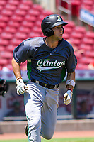 Clinton LumberKings shortstop Johnny Adams (26) runs to first base during a Midwest League game against the Cedar Rapids Kernels on May 28, 2018 at Perfect Game Field at Veterans Memorial Stadium in Cedar Rapids, Iowa. Clinton defeated Cedar Rapids 4-3. (Brad Krause/Four Seam Images)