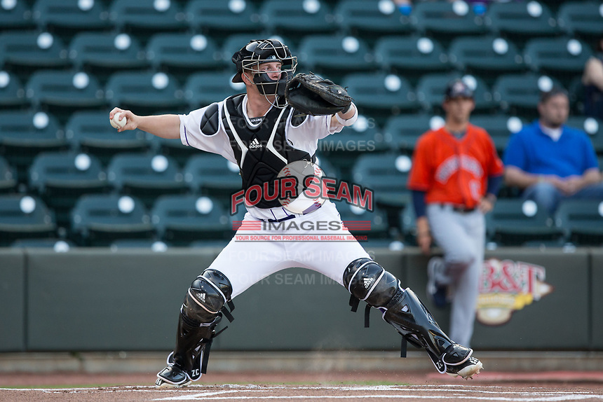 Winston-Salem Dash catcher Zack Collins (8) makes a throw to second base prior to the start of the first inning against the Buies Creek Astros at BB&T Ballpark on April 13, 2017 in Winston-Salem, North Carolina.  The Dash defeated the Astros 7-1.  (Brian Westerholt/Four Seam Images)
