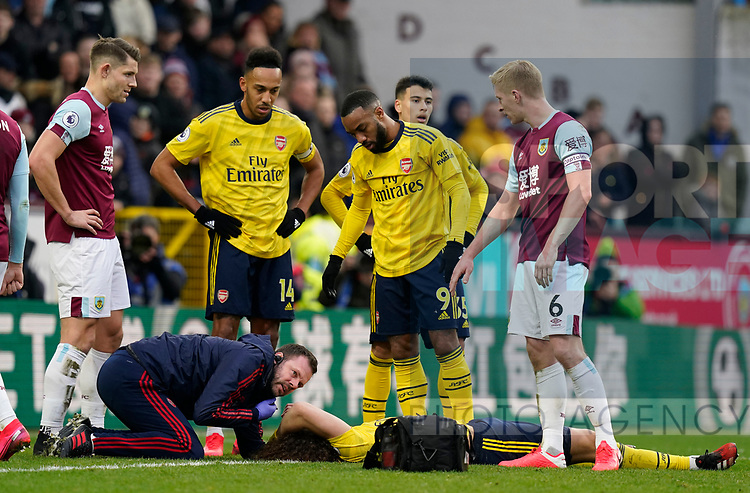 David Luiz of Arsenal receives treatment during the Premier League match at Turf Moor, Burnley. Picture date: 2nd February 2020. Picture credit should read: Andrew Yates/Sportimage