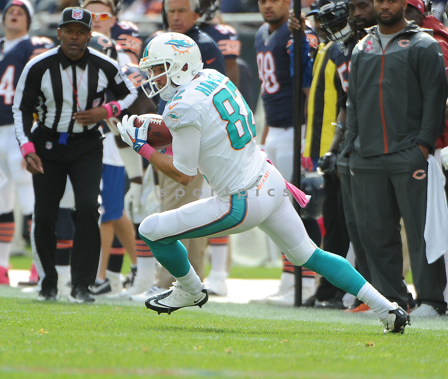 Miami Dolphins Brian Hartline (82) during a game against the Chicago Bears on October 19, 2014 at Soldier Field in Chicago, IL. The Dolphins beat the Bears 27-14.